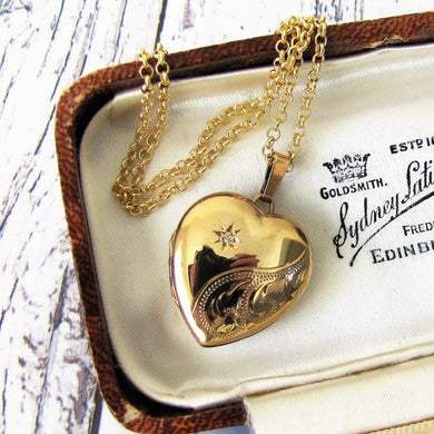 Vintage 9ct Gold & Diamond Heart Locket - MercyMadge