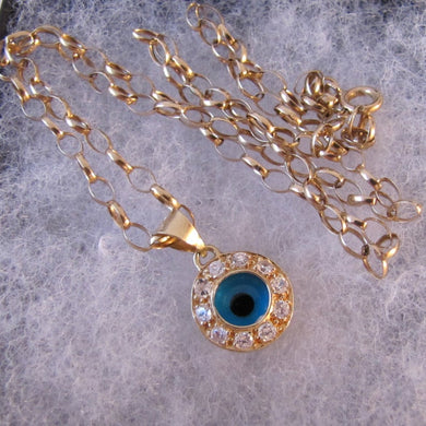 Vintage 14ct Gold Evil Eye Pendant & Chain