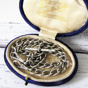 Victorian Double Albert Silver Pocket Watch Chain With Sliding T Bar, 1864 - MercyMadge
