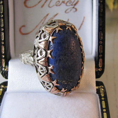 Antique Georgian Ring, Silver Gold & Lapis Lazuli