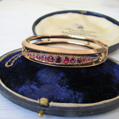 Antique 9ct Gold Garnet & Rose Cut Diamond Bracelet - MercyMadge