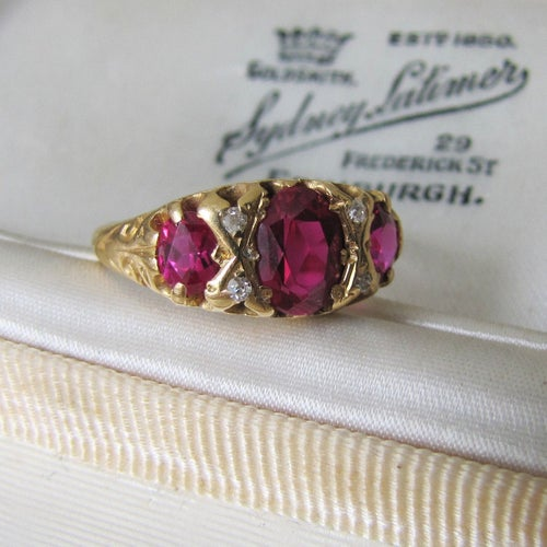 Antique 18ct Gold Ruby & Diamond Ring - MercyMadge