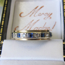 Load image into Gallery viewer, 9ct Gold, Sapphire & CZ Diamond Eternity Ring