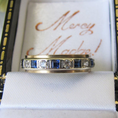 9ct Gold, Sapphire & CZ Diamond Eternity Ring