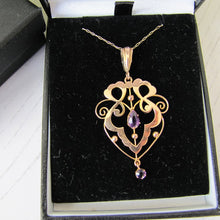 Load image into Gallery viewer, Antique Art Nouveau 9ct Gold and Amethyst Pendant Necklace. Edwardian Lavalier Necklace, S Brothers, England