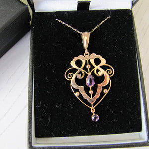 Antique Art Nouveau 9ct Gold and Amethyst Pendant Necklace. Edwardian Lavalier Necklace, S Brothers, England