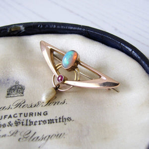 Murrle Bennett Art Nouveau Opal, Ruby & Pearl 9ct Gold Brooch - MercyMadge