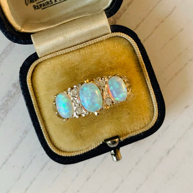 Edwardian Revival 3 Stone Opal & CZ Diamond Ring
