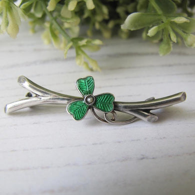 Antique Silver & Green Enamel Shamrock Pin