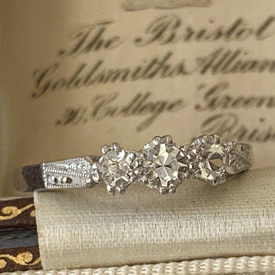 Antique 3 Stone Paste Diamond Engagement Ring