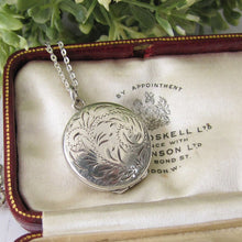 Load image into Gallery viewer, Vintage Victorian Style English Sterling Silver Locket & Chain