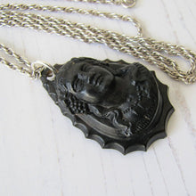 Load image into Gallery viewer, Antique Victorian Pressed Horn Mourning Pendant Necklace