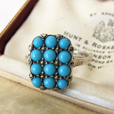 Art Deco 835 Silver & Pave Set Turquoise Ring - MercyMadge