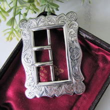 Load image into Gallery viewer, Superb Antique Sterling Silver Belt Buckle. English Art Nouveau Engraved Silver Hearts & Shells, Hallmarked 1898. Victorian Jewelry
