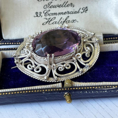 Antique Victorian Amethyst & Silver Celtic Knot Work Brooch. Scottish Cairngorm Jewellery