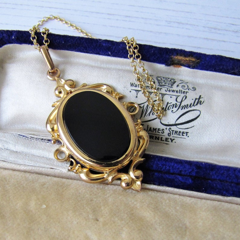 Vintage 1930s Rolled Gold & Onyx Hidden Locket Pendant - MercyMadge