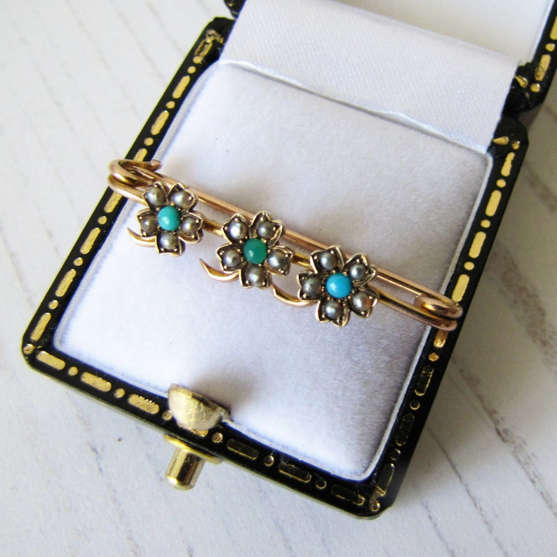 Antique Victorian 15ct Gold, Turquoise & Pearl Stock Pin - MercyMadge