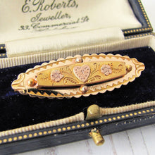 Load image into Gallery viewer, Antique Victorian 9ct Gold Sweetheart Brooch, Engraved Heart & Forget-me-Nots