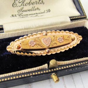 Antique Victorian 9ct Gold Sweetheart Brooch, Engraved Heart & Forget-me-Nots