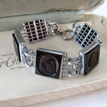 Load image into Gallery viewer, Art Deco Carnelian Carved Intaglio Silver Bracelet
