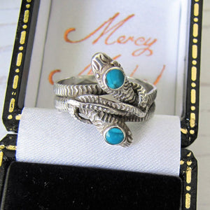 Antique Turquoise & Silver Double Snake Ring - MercyMadge