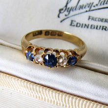 Load image into Gallery viewer, Victorian 18ct Gold, Diamond & Sapphire Ring - MercyMadge