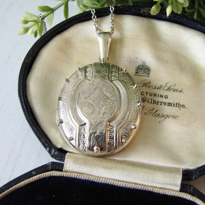 Vintage Sterling Silver Large Victorian Style Book Chain Locket - MercyMadge