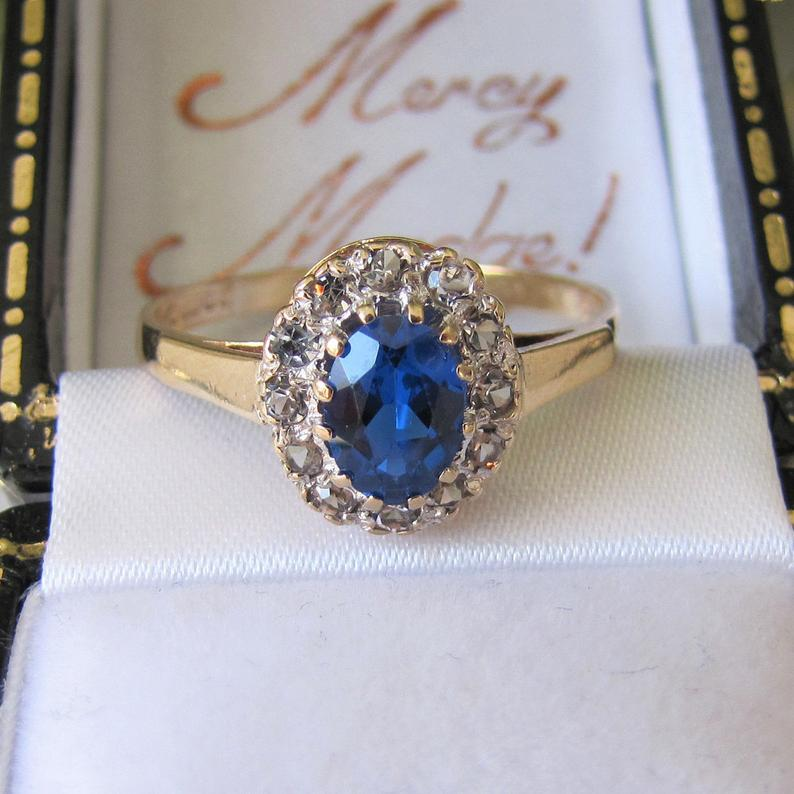 Vintage 9ct Gold, Topaz & White Spinel Cluster Ring. Blue Gemstone Halo Ring. Edwardian Revival Engagement Ring, 1967 English Hallmarks