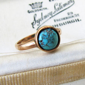 Victorian Bezel Ring, Turquoise, 9ct Rose Gold