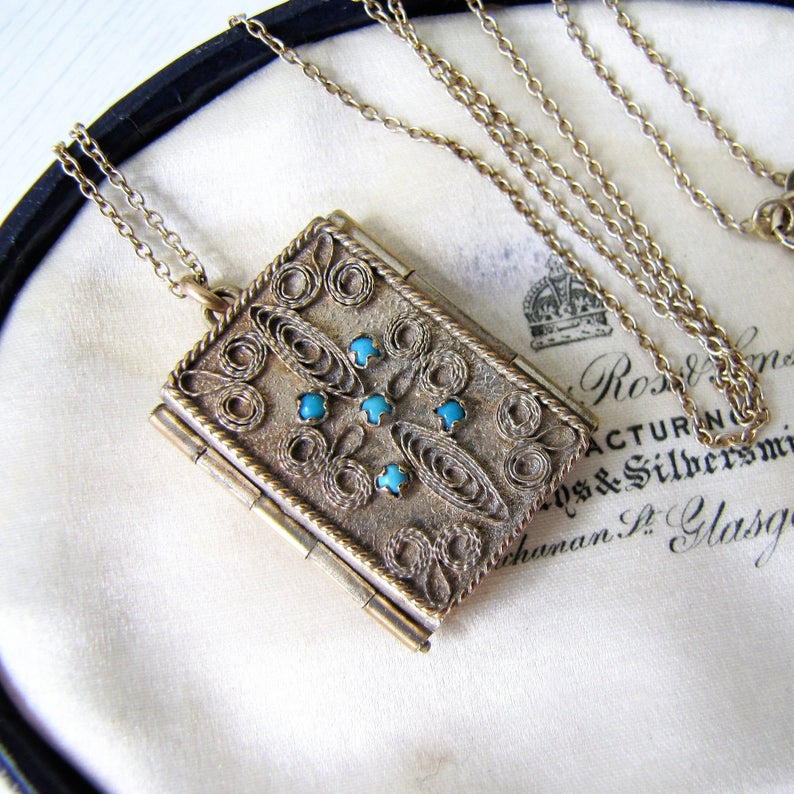 Victorian Gilt & Turquoise Book Locket, Gilded Silver Cannetille Filigree - MercyMadge