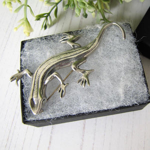 Vintage Sterling Silver Lizard Brooch, Mexico