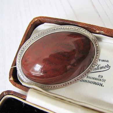 Victorian Scottish Silver Agate Brooch With Engraved Initials