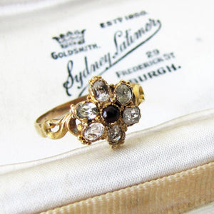 Georgian 15ct Gold & Topaz Flower Ring