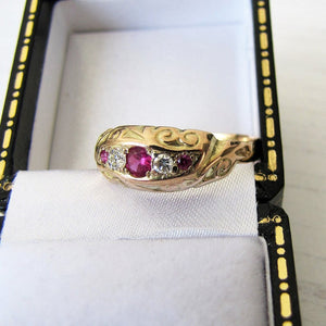 Antique Edwardian 9ct Gold, 5 Stone Diamond & Ruby Ring, Chester 1909 - MercyMadge