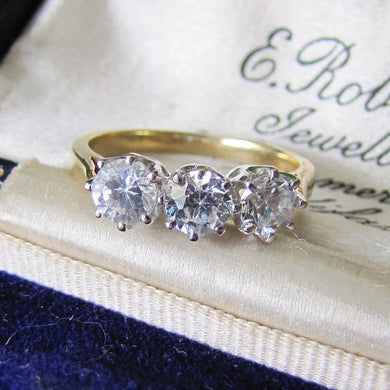 Vintage 9ct Gold & White Zircon 3 Stone Trilogy Ring, Edwardian Revival