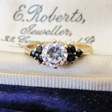 Vintage 9ct Gold Sapphire & CZ Diamond Ring, London 1981. - Mercy Madge
