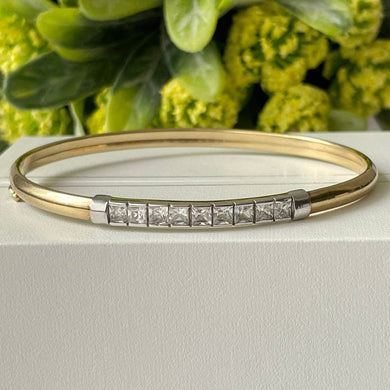 Vintage 9ct Gold and Cubic Zirconia Bangle