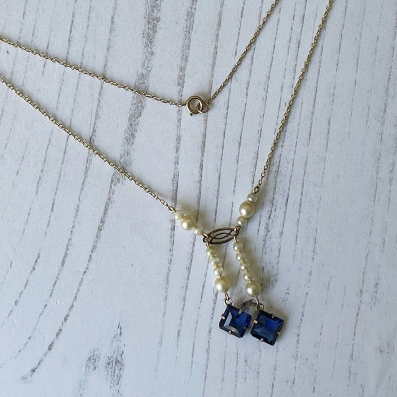 Edwardian 9ct Gold, Pearl & Sapphire Negligee Necklace. Antique Asymmetric Pendant Drop Gold Chain Necklace