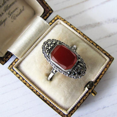 Art Deco Carnelian Silver & Marcasite Ring - MercyMadge