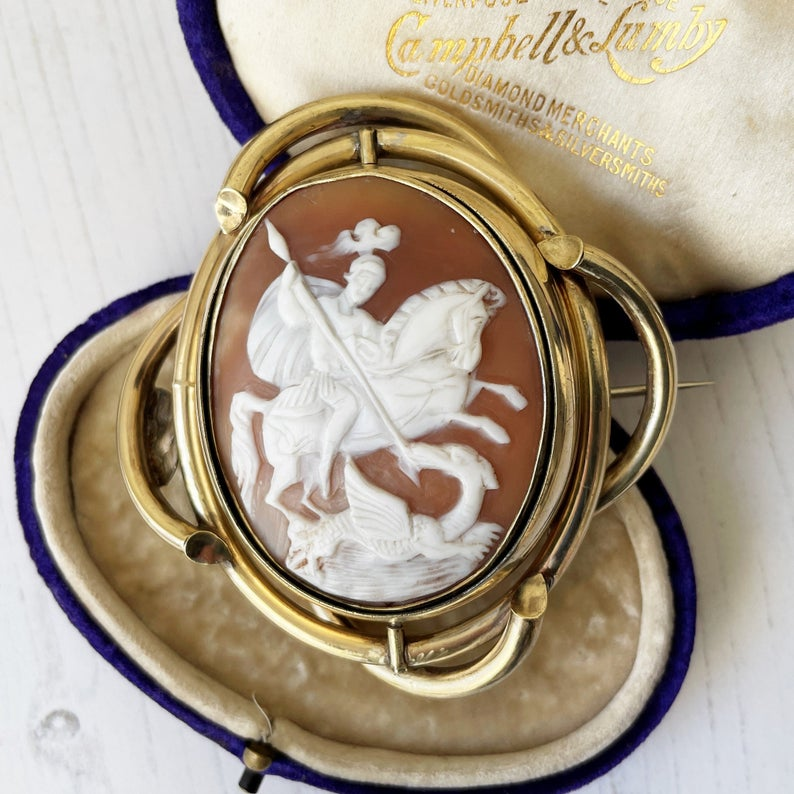 Victorian Rolled Gold Cameo & Hair Curls Swivel Brooch