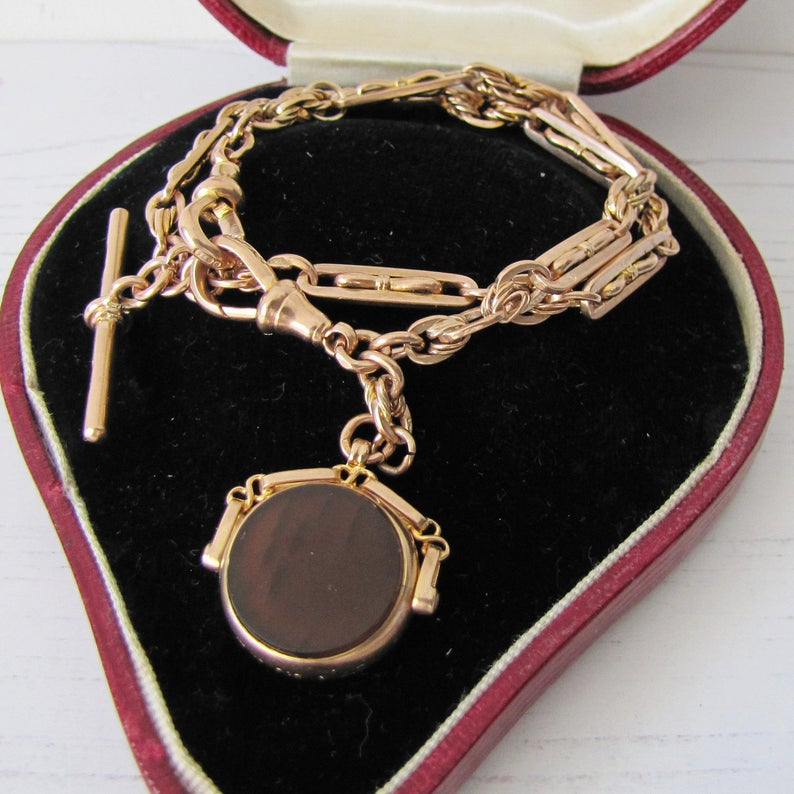 Victorian 9ct Gold Albertina Watch Chain With Spinner Fob