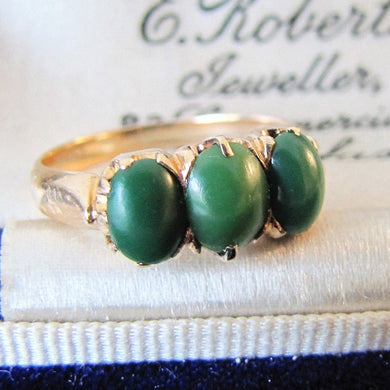 Antique Green Chalcedony Three Stone Ring, 15ct Gold - MercyMadge