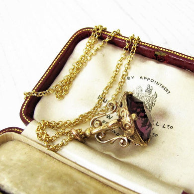 English 9ct Gold & Amethyst Fob