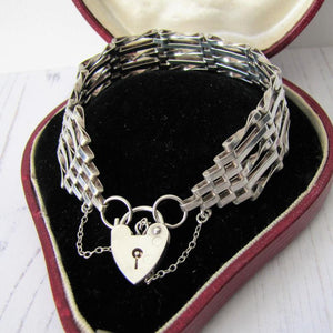 Vintage Silver Gate Bracelet With Heart Padlock