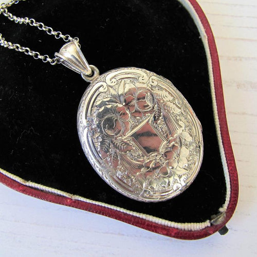 Large Victorian Sterling Silver Engraved Locket