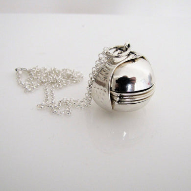 Sterling Silver Pendant Ball Locket & Chain - Mercy Madge