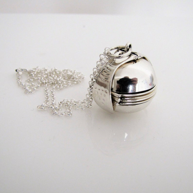 Sterling Silver Pendant Ball Locket & Chain - MercyMadge