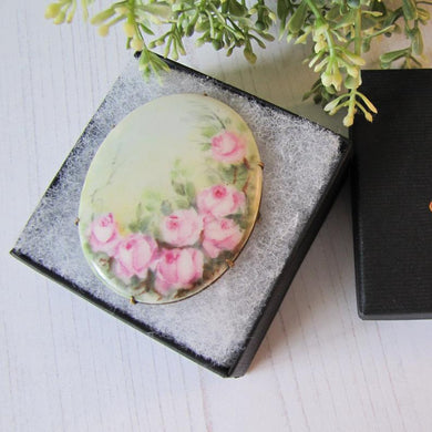 Antique Edwardian Porcelain Hand Painted English Rose Brooch