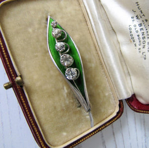 Edwardian Silver Enamel Brooch, Lily of the Valley - MercyMadge