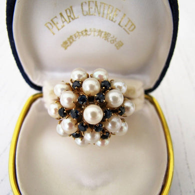 Pearl & Sapphire Cluster Ring, 14ct Yellow Gold